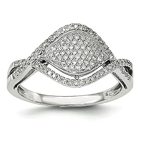 14ct White Gold Pave Diamond Ring