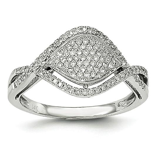 14ct White Gold Pave Diamond Ring