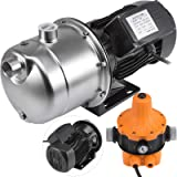 Happybuy Shallow Well Jet Pump with Pressure Switch 1.6HP Jet Water Pump 180 ft Stainless Steel Jet Pump to Supply Fresh Well Water to Residential Homes Farms Cabins (Color: Stainless Steel, Tamaño: 1.6 HP - 1200 W)