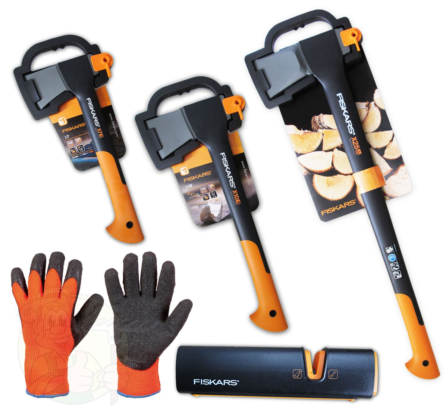 Fiskars Spaltaxt X25 + X10 + X7 + Xsharp Axt und Messerschärfer + Handschuhe  GartenKritiken und weitere Infos