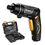 DEKO Cordless Electric Screwdriver Household Lithium-Ion Battery Rechargeable Drill/Driver Power Gun Tools (Medium) (Color: Black, Tamaño: Medium)