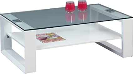 HomeTrends4You 194526 Couchtisch, 105 x 42 x 65 cm, weiß matt glas