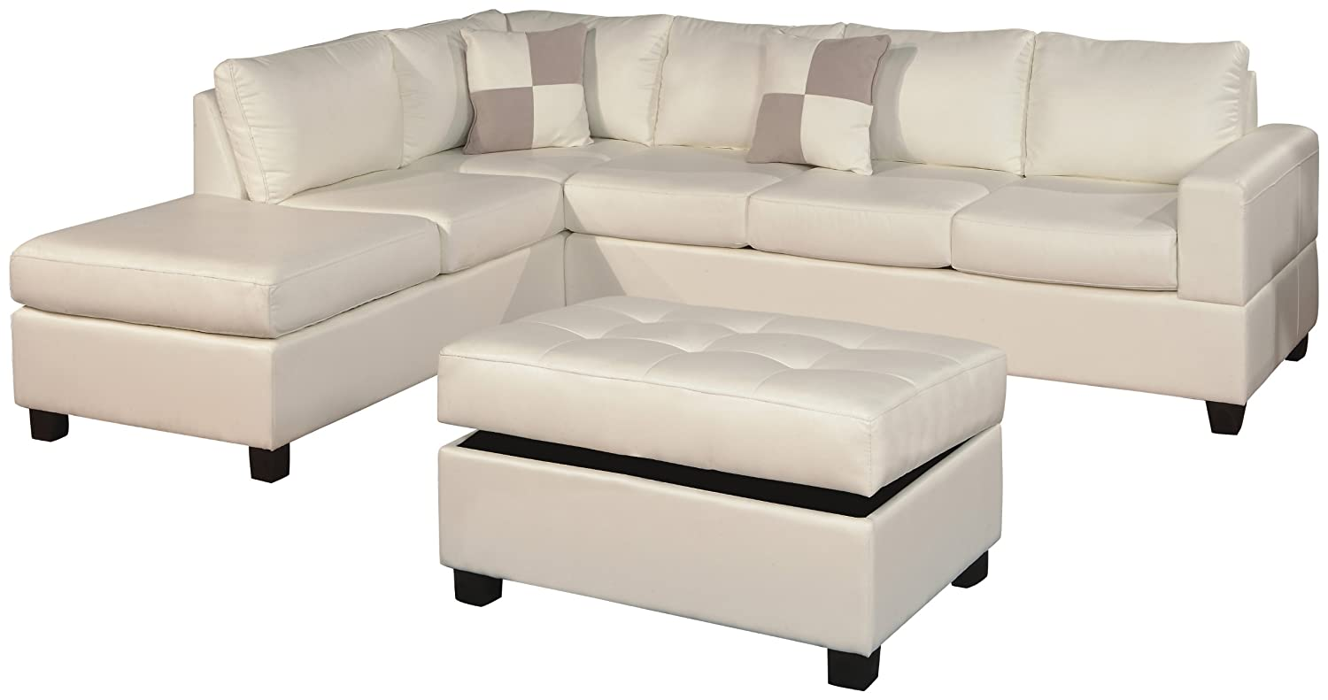 Bobkona Soft-touch Reversible Bonded Leather Match 3-Piece Sectional Sofa Set - White