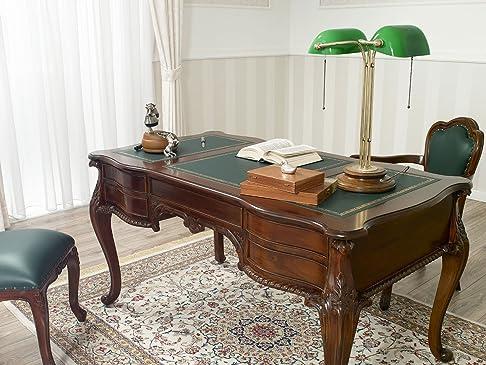 Scrivania scrittoio Chippendale ministeriale presidenziale cm 150 legno noce ecopelle verde Inglese