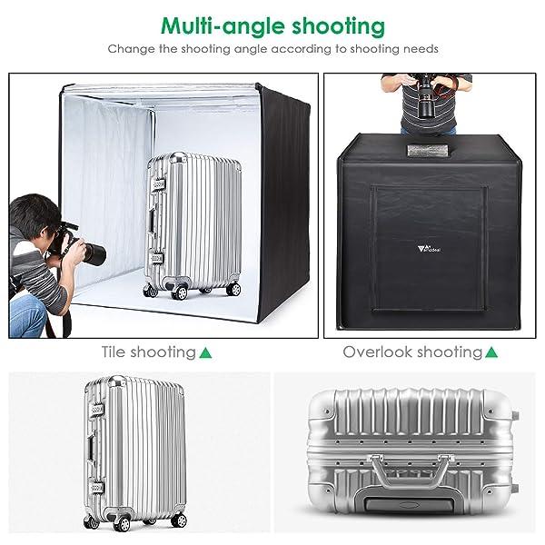 AMZDEAL PHOTO LIGHT BOX 32 X 32IN PHOTO STUDIO, Tienda de fotografía profesional con luz LED 3 fondos (Blanco Negro Naranja)