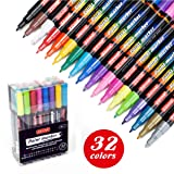 ZEYAR Acrylic Paint Pens, Water based, Extra Fine Point, 32 vibrant colors, Paint Markers for Glass, Rock, Paper, Ceramic, Plastic and Non porous surfaces, Opaque Ink, Professional Marker Manufacturer (Color: Black, White, Gold, Silver, Red, Yellow, Green, Blue, Pink, Violet, Orange, Brown, Zesty Lemon,ligh, Tamaño: Extra fine point)