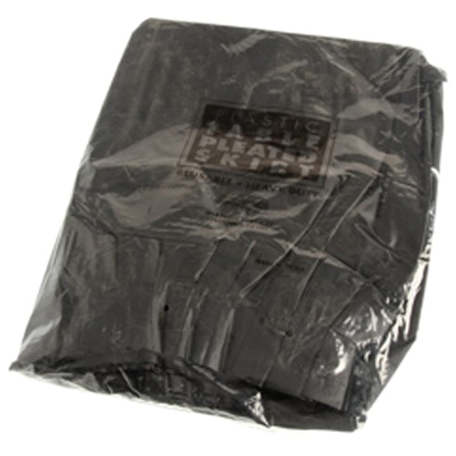 One Large Black Plastic Pleated Heavy Duty Table Skirt - 126 faux leather pleated skirt in black