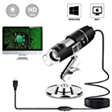 USB Microscope 1000x Digital Handheld Microscope, 8 LED USB 2.0Magnification Endoscope Mini Camera with OTG Adapter and Metal Stand, Compatible with Mac and Window 7 8 10 2000 XP Vista (Color: Black)