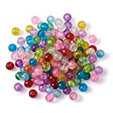 Craftdady 500Pcs 10mm Transparent Crackle Glass Round Beads Tiny Handcrafted Loose Pony Ball Beads Random Mixed Colors for Jewelry Making Hole: 1mm (Color: Crackle Glass, Tamaño: 10mm)