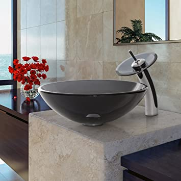 VIGO Sheer Black Glass Vessel Sink and Waterfall Faucet Set in Chrome, Add A Modern Touch To Your Bathroom.