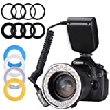 Ring Flash,Emiral 48 Macro LED Ring Flash Bundle with LCD Display Power Control, Adapter Rings and Flash Diffusers for Camera and Other DSLR Cameras (Color: BLACK)