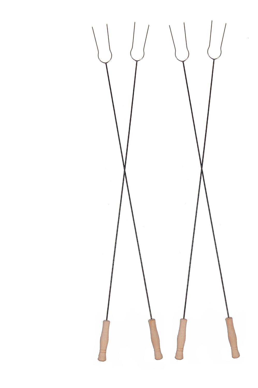 Kingdiscount® Lagerfeuergabeln extralang (4 Stück) 130 cm aus Edelstahl mit Holzgriff bestellen