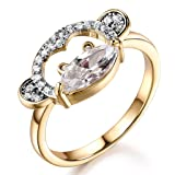 GULICX Clear Marquise Shape Cubic Zirconia Cute Womens Girls Monkey Animal Ring with Yellow Gold-Tone Band