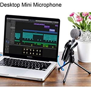 USB Professional Condenser Microphone Desktop Mini Microphone Speaker Audio Studio Sound Recording with Stand for PC Computer Laptop Notebook Skype Ch