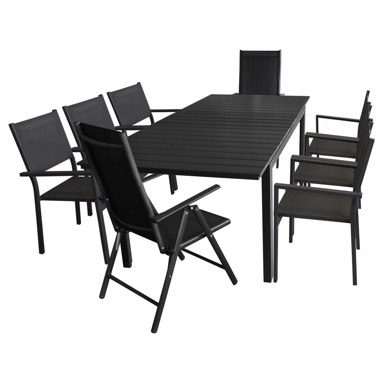 9tlg. Gartengarnitur - Aluminium Ausziehtisch, 160/210x95cm, Polywood Tischplatte + 6x Stapelstuhl + 2x Hochlehner, 7-fach verstellbar, Schwarz - Gartenmöbel Terrassenmöbel Sitzgruppe Sitzgarnitur