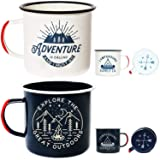Adventure Enamel Camping Mug - 2 Pack LARGE 16oz of Love, Morning Coffee Mug - (455ml) Tin Cup Campfire Mug For Outdoors, Breakfast Wanderlust Travel Cup For The Happy Camper! (Tamaño: 16oz)