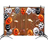 LB Halloween Backdrops for Photography Halloween Party Banner Pumpkin Skull Bat Balloon on Rustic Wood Photo Background for Kids Adults 7x5ft Customized Photo Booth Props (Color: brown MB498, Tamaño: 7x5ft)