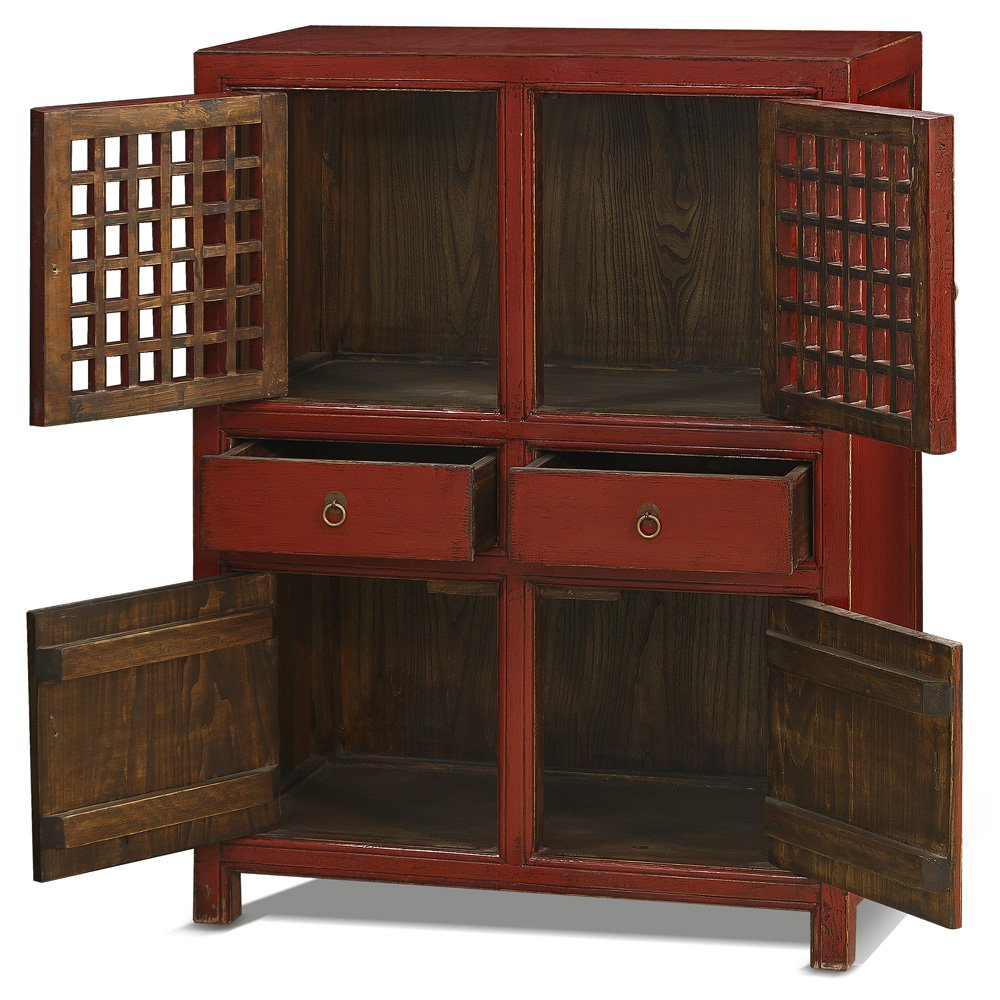 China Furniture Online Elmwood Cabinet, Vintage Hand Crafted Ming Style Zen Cabinet Red 1