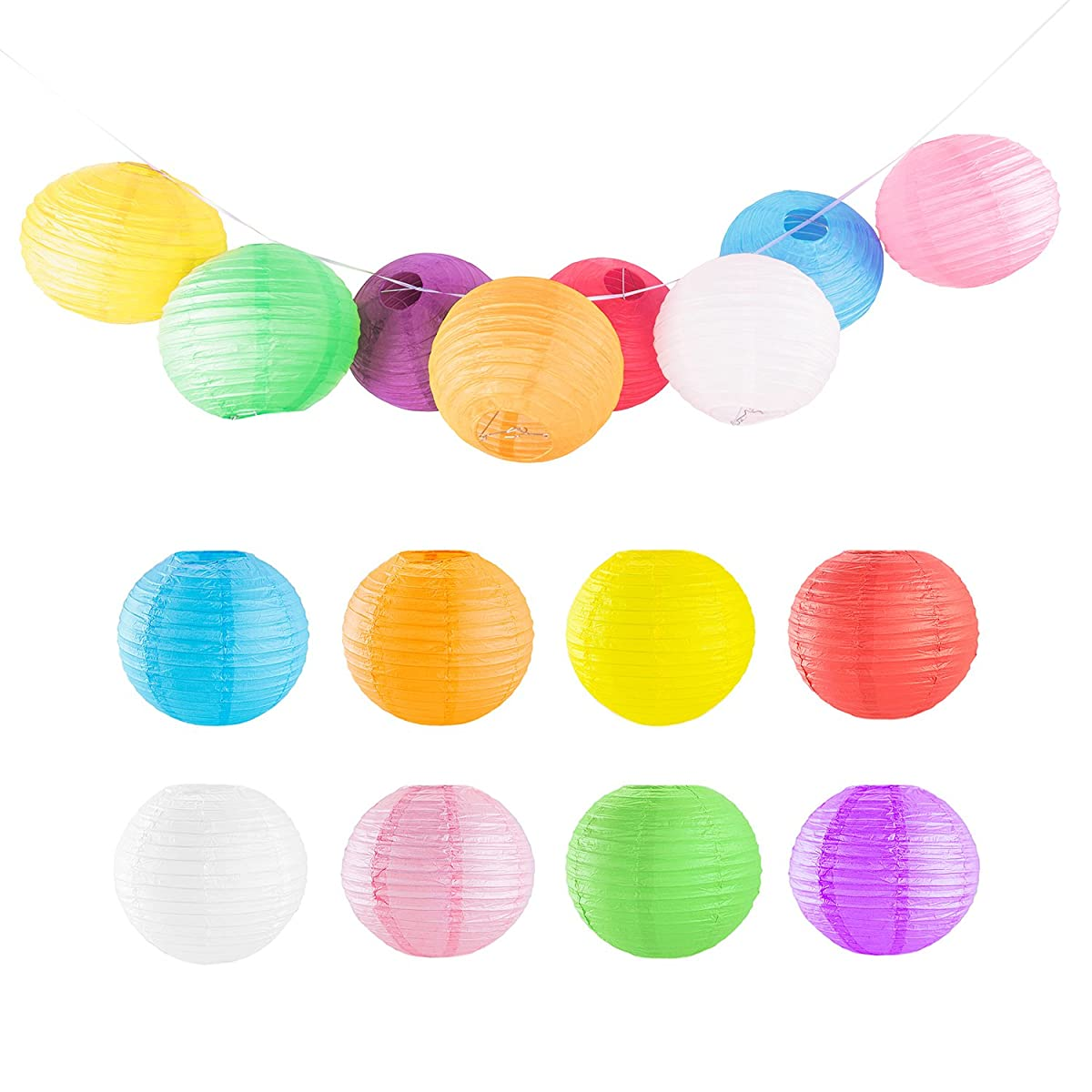 """10"""" Assorted Colorful Chinese/Japanese Hanging Paper Lanterns Metal Frame for Parties, Home Lamps, Event Decoration (8 Pack)"""