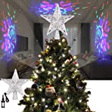 ALLOMN Christmas Lighting, Christmas Tree Topper Projector Light 3D Glitter Lighted Star Tree Topper with Adjustable LED Snowstorm/Snowman/Stripe RGB Projector Lights 3m Cable, US Plug (Stripe RGB) (Color: Stripe Rgb)