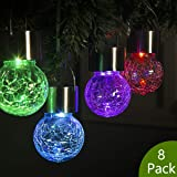 GIGALUMI 8 Pack Hanging Solar Lights Multi-Color Changing Cracked Glass Hanging Ball Lights Waterproof Outdoor Solar Lanterns for Garden, Yard, Patio, Lawn (Color: Multicolor)