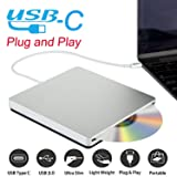 Ploveyy USB-C Superdrive External DVD/CD Reader and DVD/CD Burner for latest Mac Pro/MacBook Pro/ASUS /ASUS/DELL Latitude with USB-C Port Plug and Play (Silver) (Color: Silver)