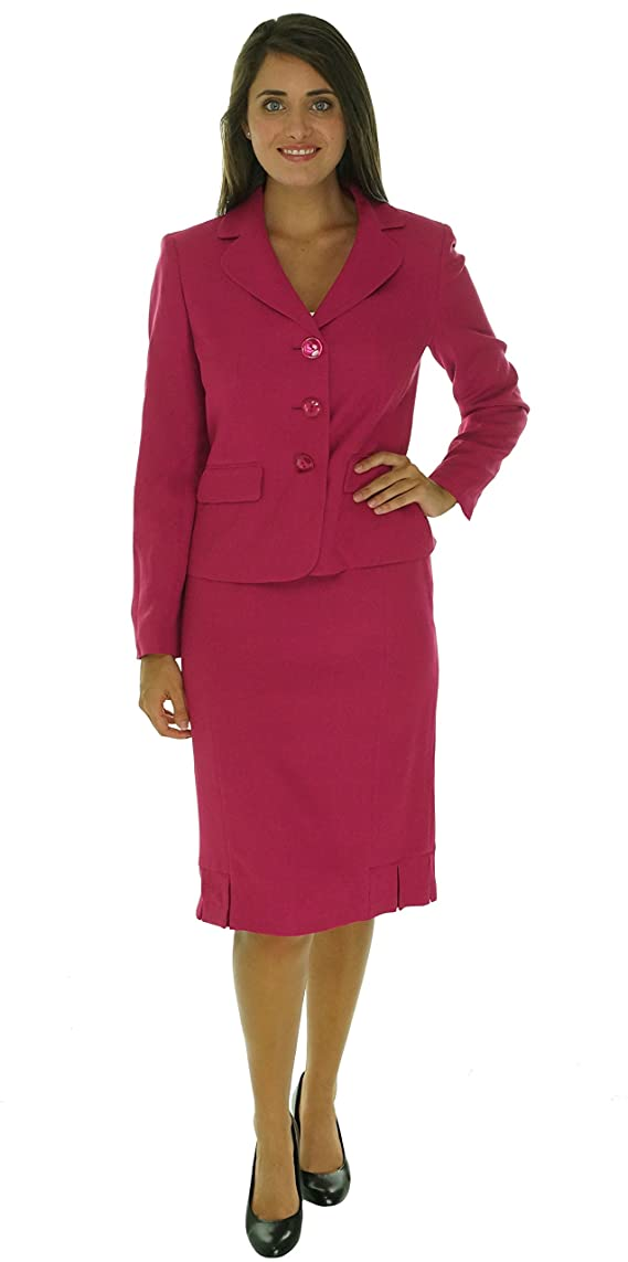 Evan Picone Womens Textured Pink 2pc Notch Collar Skirt Suit