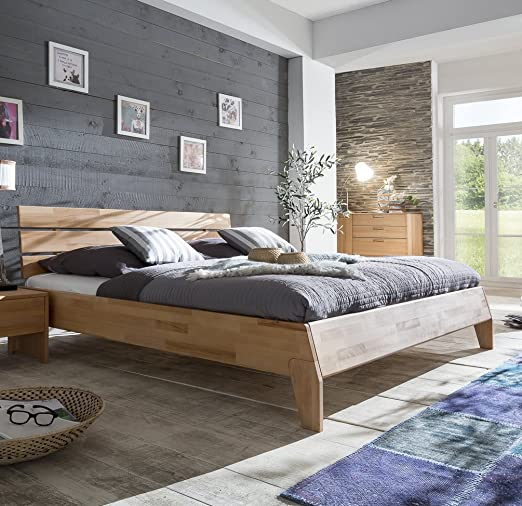 Bed 160 x 200 CM Solid Beech Heartwood Natural Oiled