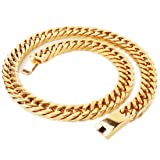 FANS JEWELRY Heavy Polished 15MM Stainless Steel Cut Double Curb Cuban Chain Link Necklace Bracelet for Mens (Gold Tone 22