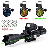 UUQ 4-16x50EG Tactical Rifle Scope Red/Green Illuminated Range Finder Reticle With Green Laser and Multi Optical Coated Holographic Dot Sight (12 Month Guarantee) (Color: 4-16X50 W/ Green Laser)