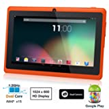 Dragon Touch® 7'' Orange Dual Core Y88 Google Android 4.1 Tablet PC, Dual Camera, HD 1024x600, Google Play Pre-load, HDMI, 4GB, 3D Game Supported (enhanced version of A13)
