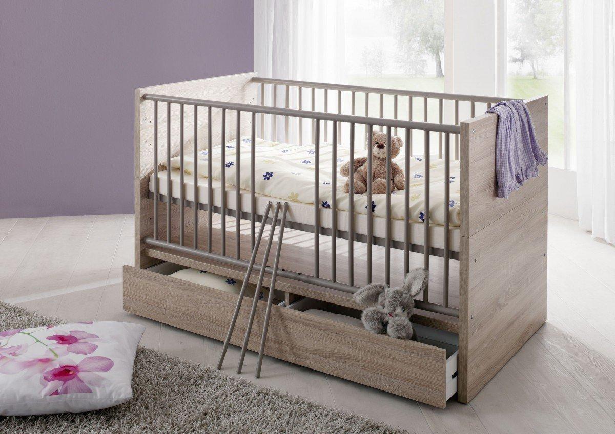 Dreams4Home Babybett 'Liss', Kinderbett Gitterbett Juniorbett Babyzimmer Bett Kinderzimmer, Sonoma Eiche sägerau