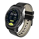 KINGWEAR KW28 1.3inch MTK2502C Chip GPS Smart Watch Smartphone Supporting SIM 16GB TF Card for IOS Android (Black) (Color: black)