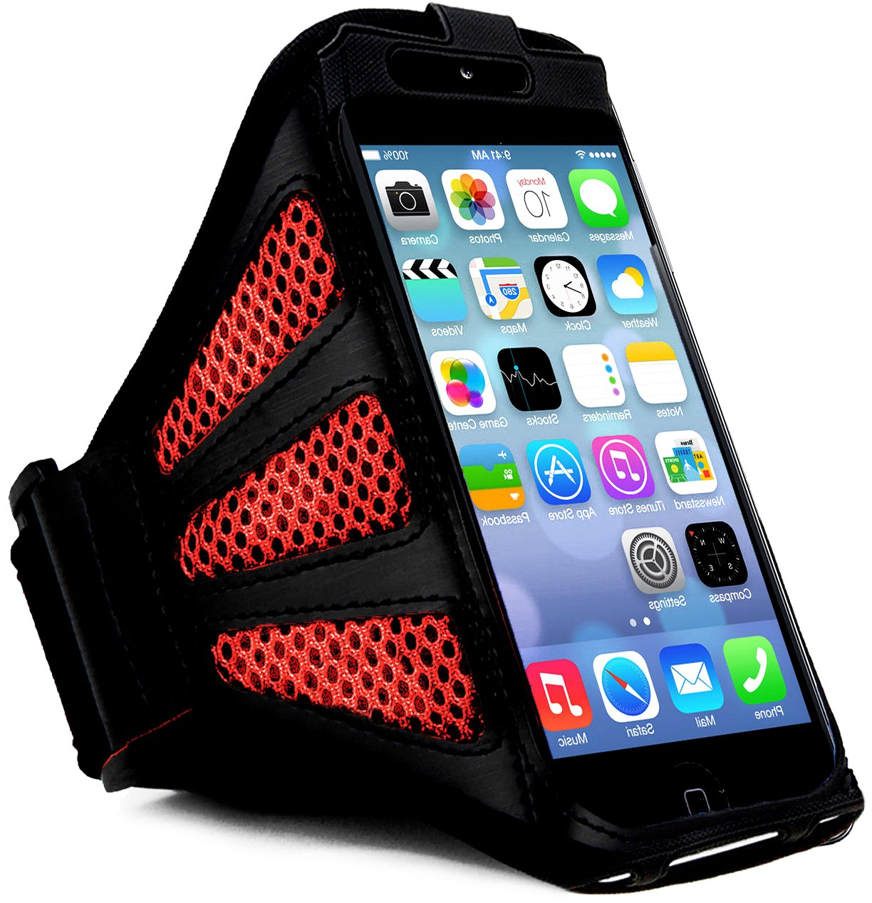myLife Coal Black and Vermillion Red Flex Mesh {Rain Resistant Velcro Secure Running Armband} Dual-Fit Jogging Arm Strap Holder for iPhone 5|5S|5C and iPod 5 (5G) 5th Generation by Apple All Ports Accessible waterproof bag pouch w armband neck strap for iphone 5 5c translucent blue black