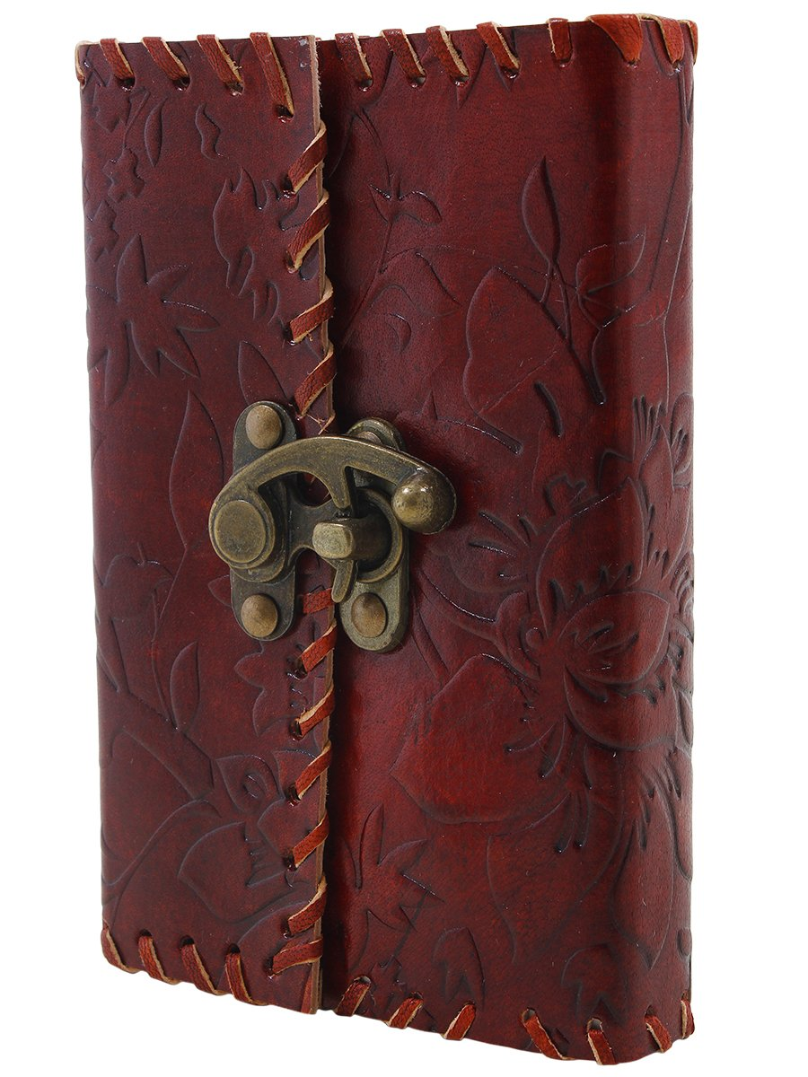 Upto 60% off On Office Products By Amazon | Store Indya Leather Diary Journal Notebook With a Lock Hand Embossed & 100 Unlined Eco-friendly Pages @ Rs.449