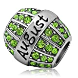 JMQJewelry Birthday Charms Bead For Bracelets (Green, August Birthstone)