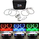 iJDMTOY v2. RGB Multi-Color 96-LED Angel Eye Halo Rings w/Lens Covers and Wireless Remote Control For BMW E36 E46 E38 E39 3 5 7 Series