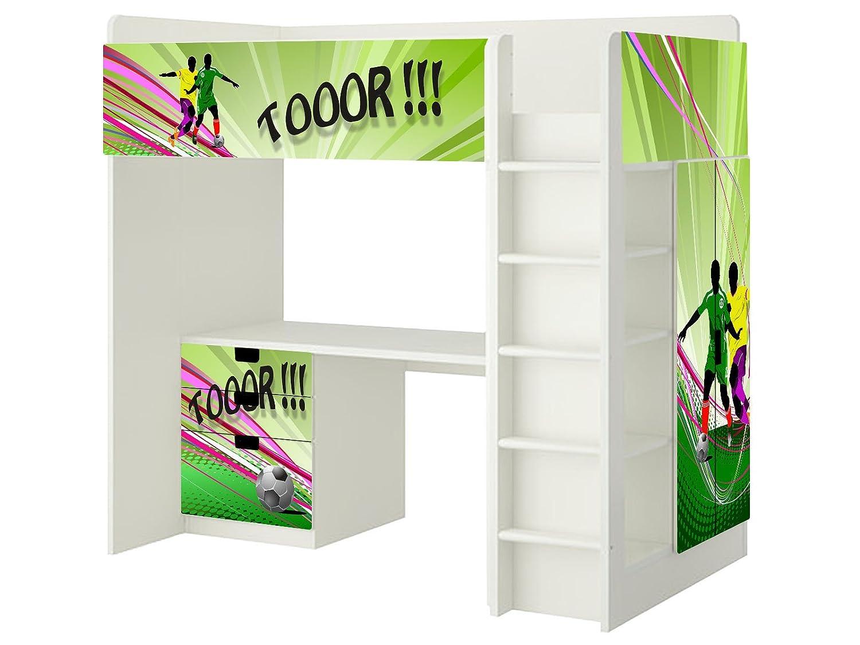 Fussball Aufkleber – SH09 – passend für die Kinderzimmer Hochbett-Kombination STUVA von IKEA – Bestehend aus Hochbett, Kommode (3 Fächer), Kleiderschrank und Schreibtisch günstig kaufen