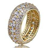 SHINY.U 5 Row 10mm Gold Plated Bling Iced Out CZ Royal Simulated Diamond Eternity Wedding Engagement Band Ring for Men Hip Hop (Gold, 9) (Color: Gold)