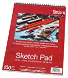 Darice 9-Inch-by-12-Inch Top Spiral Bound Sketch Pad, 100-Sheets