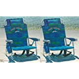 Tommy Bahama 2 2016 Backpack Cooler Beach Chair with Storage Pouch and Towel Bar (Blue Stripe) (Color: Blue)