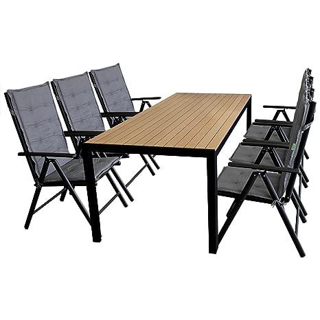 13tlg. Sitzgarnitur Gartengarnitur Sitzgruppe Gartenmöbel Terrassenmöbel Set Polywood 205x90cm + 6x Hochlehner, Lehne 7-fach verstellbar, 2x2 Textilenbespannung + 6x Stuhlauflage
