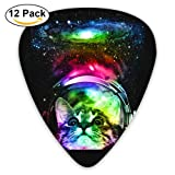Cosmos Cat Guitar Picks For Bass, Electric Guitar, Acoustic Guitar, 12 Pack Plectrums Includes Thin, Medium & Heavy Gauges (Color: Cosmos Cat, Tamaño: One Size)