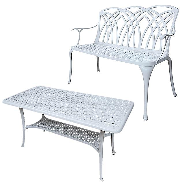 Lazy Susan - Tavolino basso rettangolare da giardino CLAIRE e panchina APRIL - Mobili in alluminio pressofuso, colore Bianco
