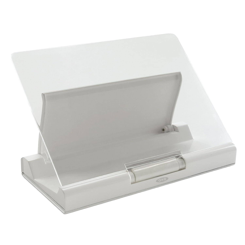Atril plegable con pantalla antisalpicaduras, 3,2 x 21,5 x 28 cm, color blanco