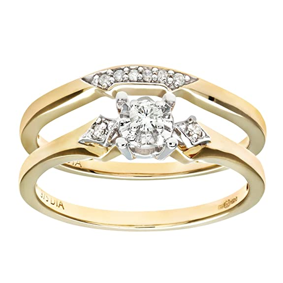Naava 9ct Yellow Gold 0.10ct Diamond Bridal Set Ring