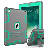 Topsky NTECeaq Shock-Absorption Three Layer Armor Defender Full Body Protective Case for iPad 2, 3, 4 with Stylus and Screen Protector - Grey/Green (Color: C3K,Grey Green, Tamaño: 10.5 x 7.9 x 0.8 inches)