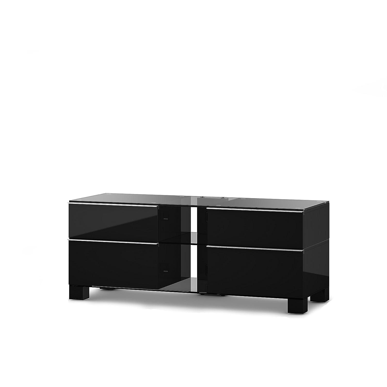 Sonorous MD 9220-C-HBLK-BLK Fernseher-Möbel mit Klarglas (Aluminium Hochglanz/Korpus Hochglanzdekor) schwarz