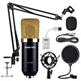 ZINGYOU Condenser Microphone Bundle, ZY-007 Professional Cardioid Studio Condenser Mic include Adjustable Suspension Scissor Arm Stand, Shock Mount and Pop Filter, Studio Recording & Broadcasting (Color: Sunrise Gold, Tamaño: Medium)
