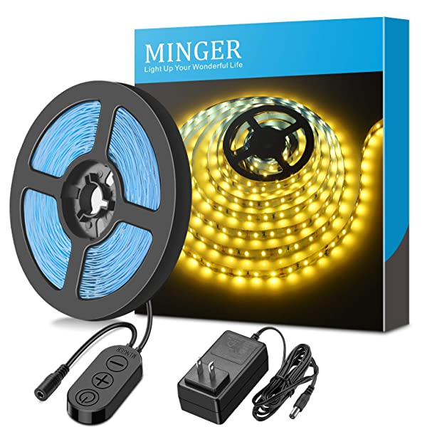 Dimmable LED Light Strip kit with UL Listed Power Supply, MINGER 300 Units SMD 2835 LEDs Flexible Strip Lights, 16.4ft 12V LED Ribbon, Non-Waterproof,